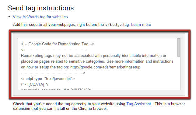 Revamp adwords by inserting tag on website's pages