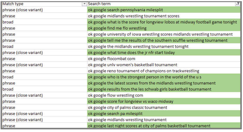 keyword phrases used voice search