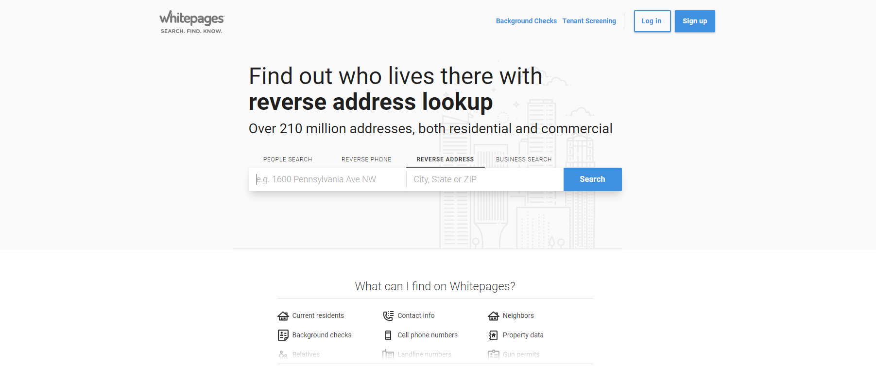 white pages - Find phone number using address