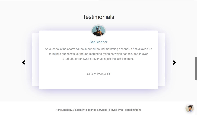 Aeroleads testimonials