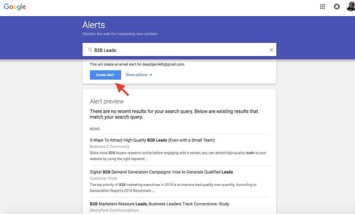 create alerts