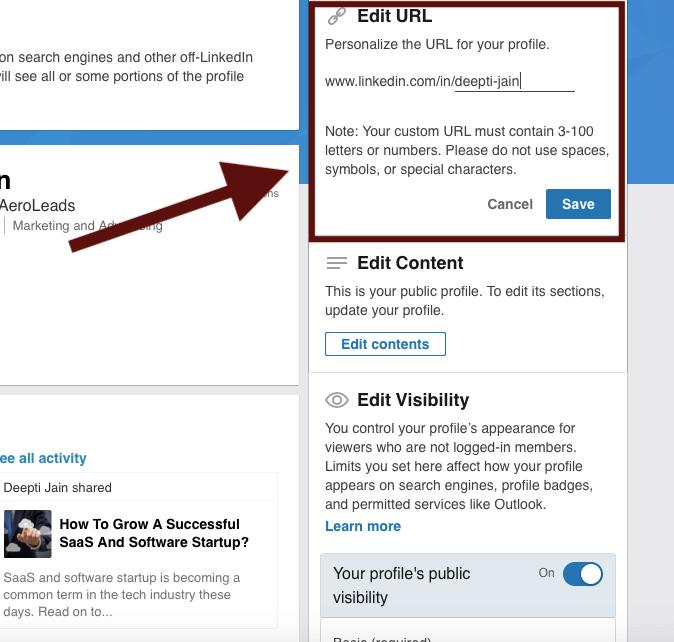 Edit LinkedIn URL