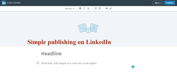 linkedin simple publishing