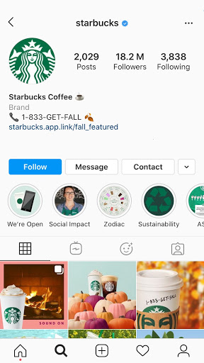 starbucks instagram page