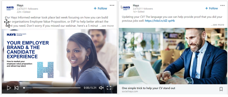hays adverts linkedin