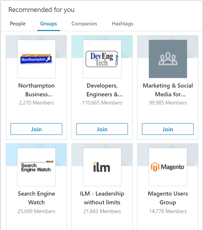 suggested groups linkedin