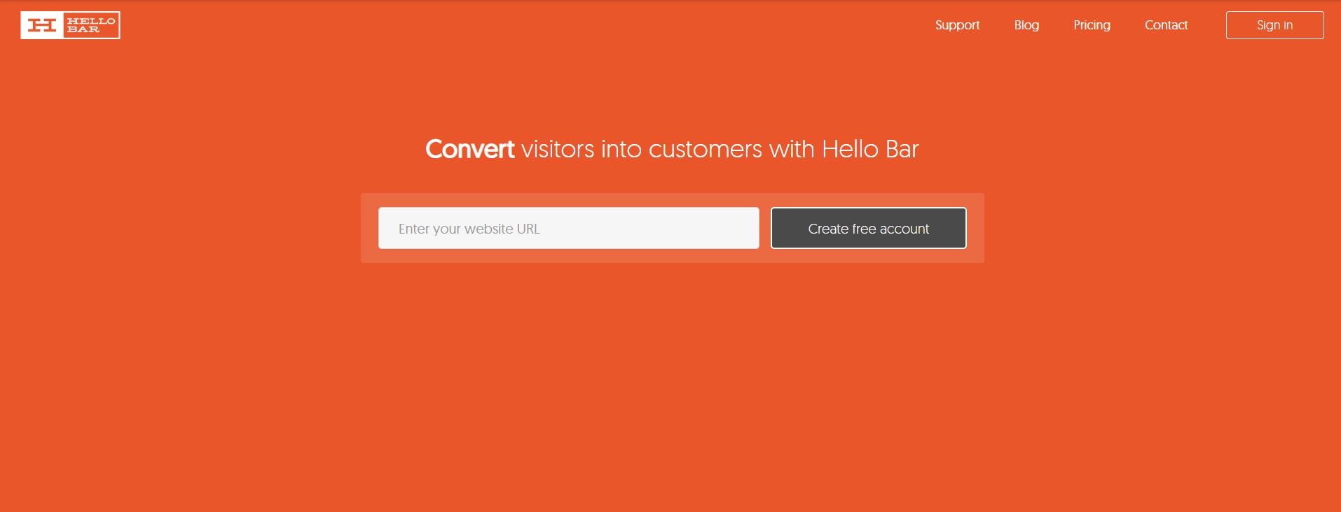 Hello bar - Lead generation tools