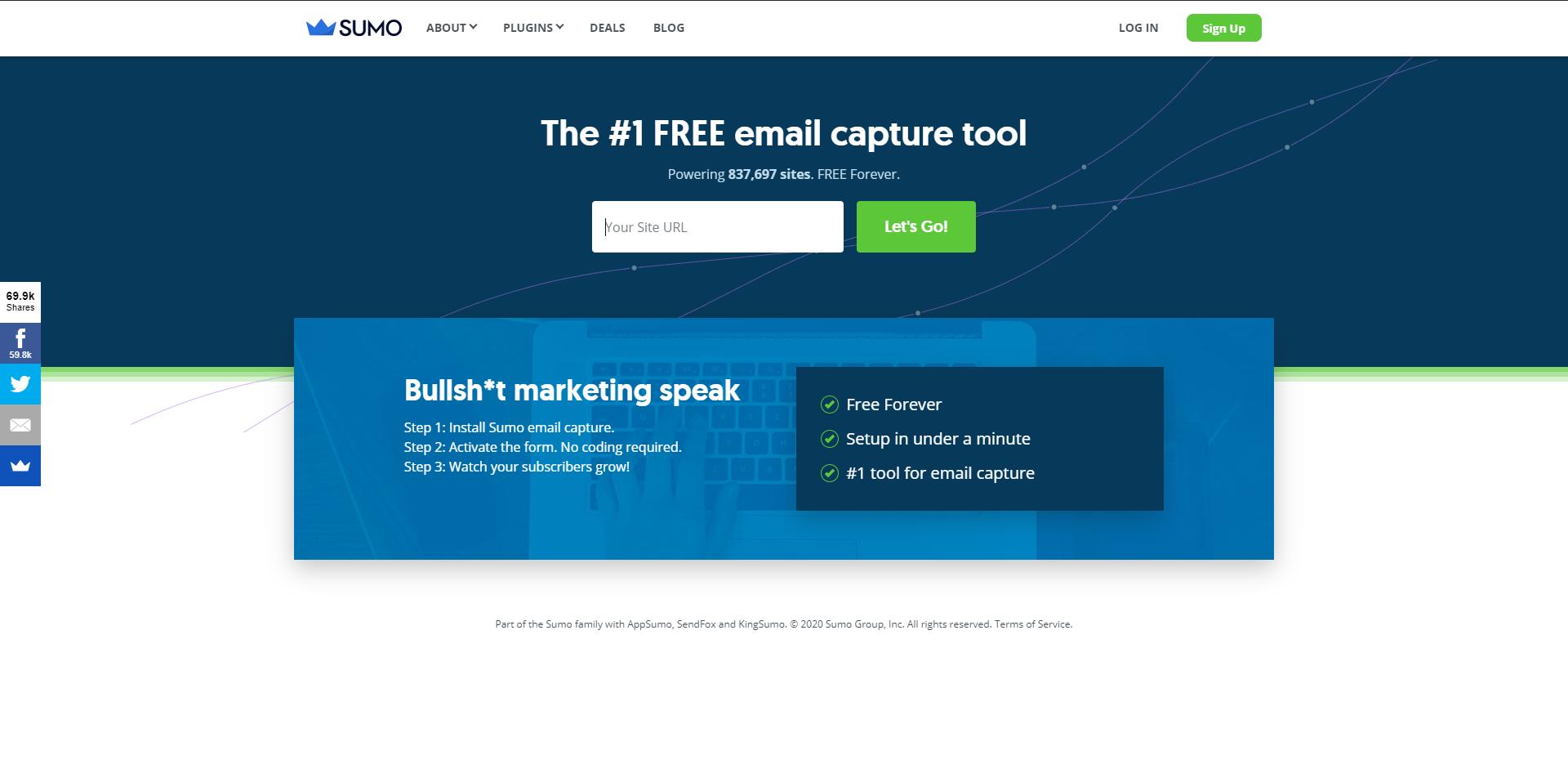 Sumo email capturing tool