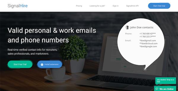 SignalHire find work emails
