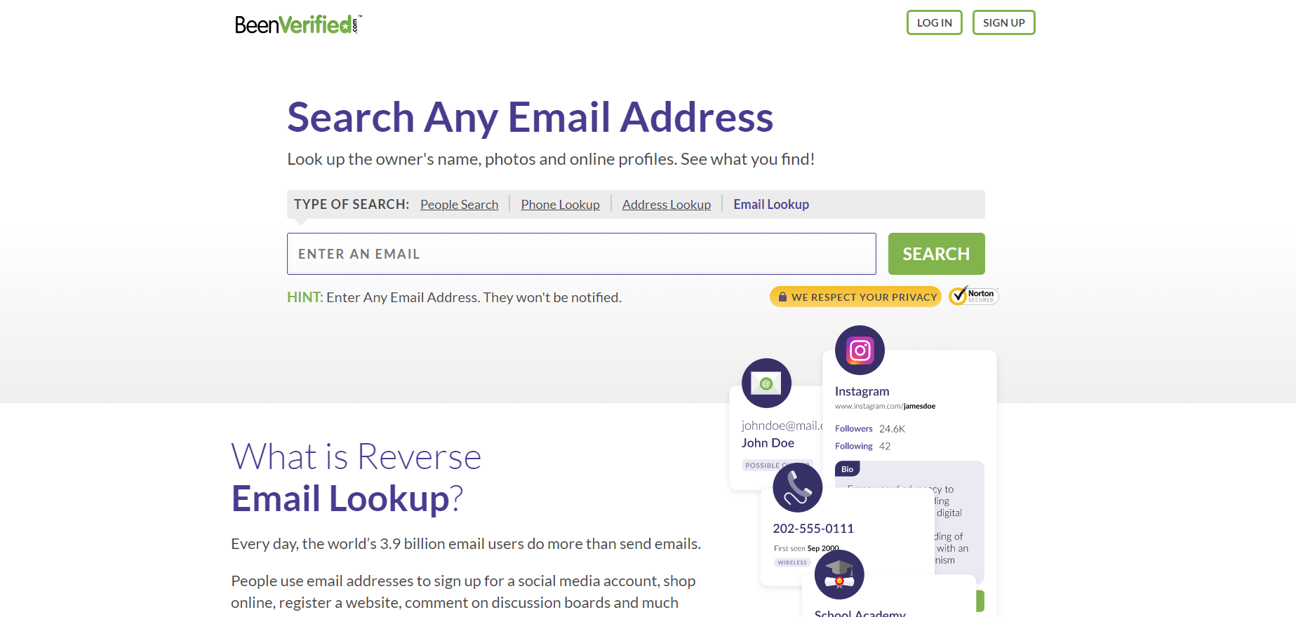 reverse lookup an email addresses
