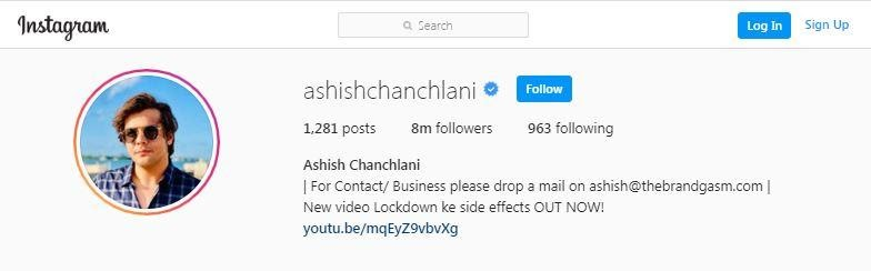 ashish chanchlani, find emails from instagram