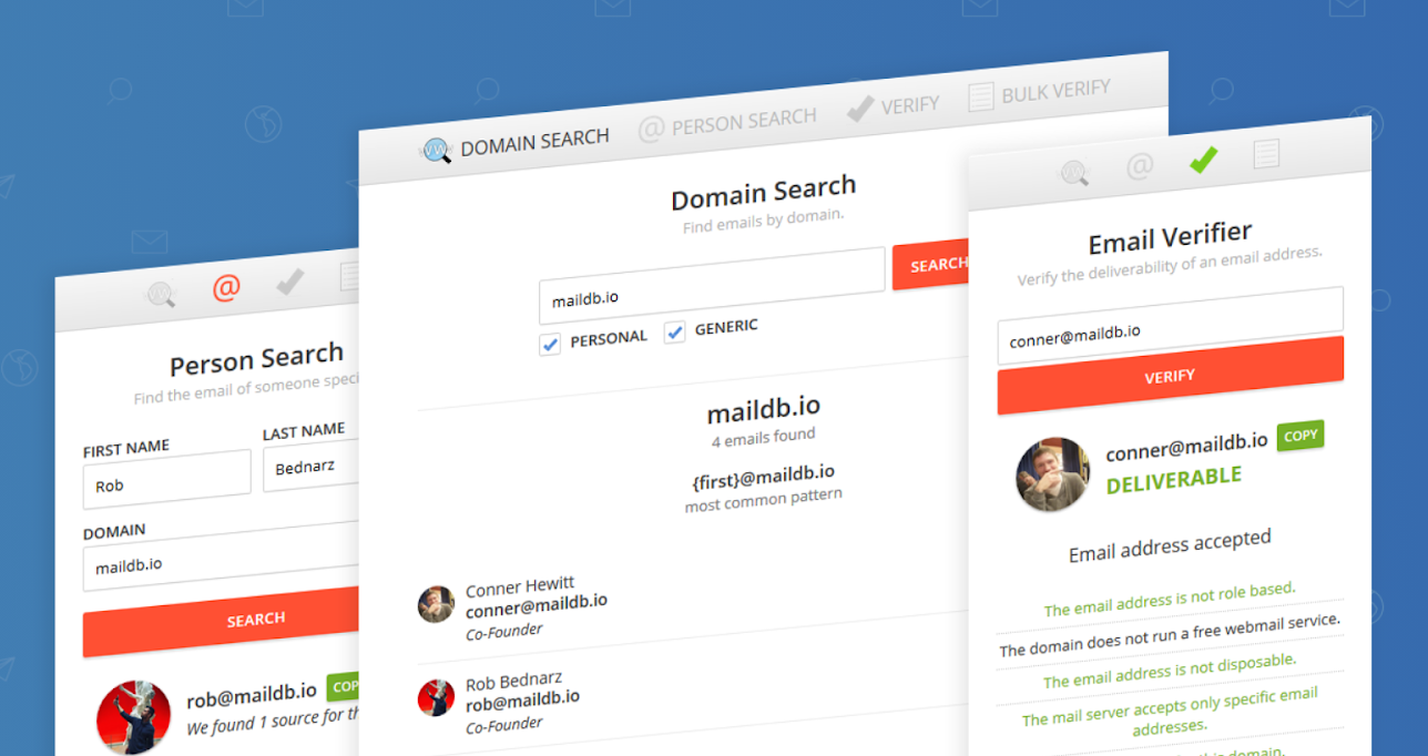 maildb email extractor for domain search, person search, email verifier