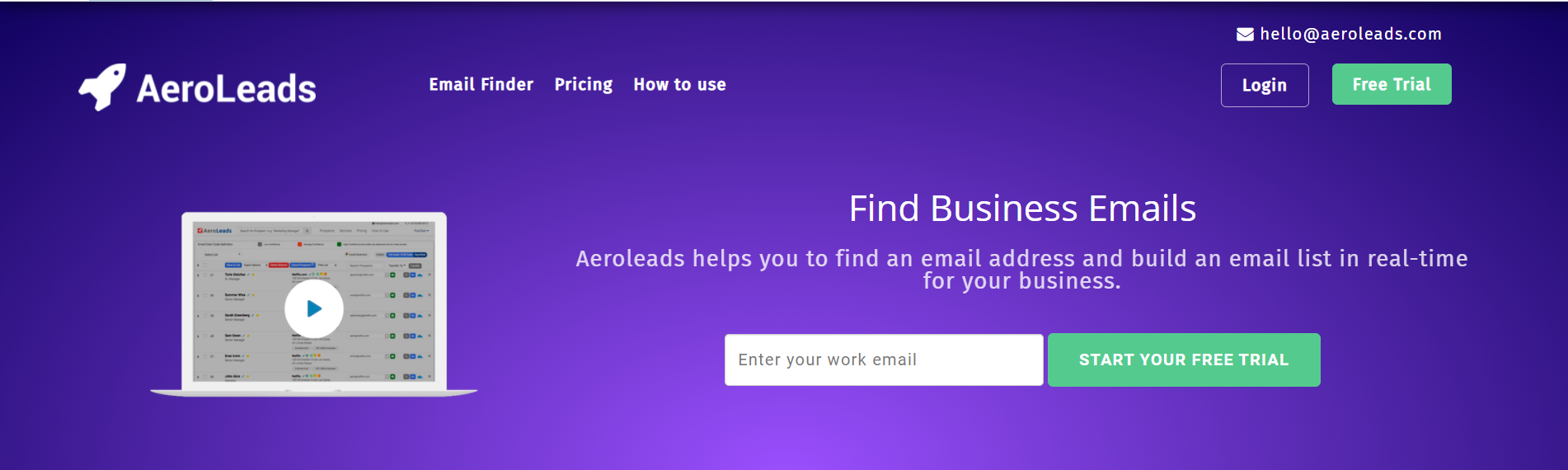 Aeroleads Email Finder Tool for Cold Calling